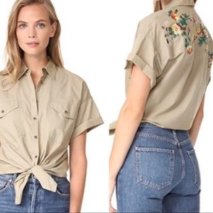 Madewell Tie Front Embroidered Safari Shirt